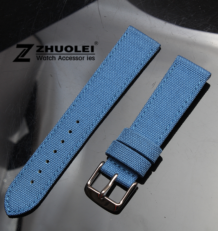 Watch band 18mm 20mm 22mm 24mm Sky blue Nylon +Genuine leather with stainless steel clasp Watch Straps Wristwatch Bands high quality 20mm 22mm 24mm leather watch strap man watch straps black brown gray stainless steel buckle thick line watch band