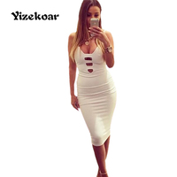 Sexy Club Dress 2017 New Women Spring White Bandage Dress Celebrity Sleeveless Deep V Neck Slim