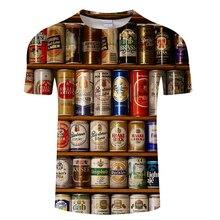 2019 novo 3d camiseta masculina enlatada cerveja gráfico hip hop em torno do pescoço de manga curta camisetas para homem e mulher s 6xl
