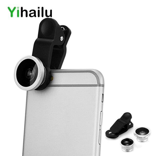 27760e68a27 3 en 1 Universal gran angular ojo de pez Macro lente Clip teléfono  inteligente para el