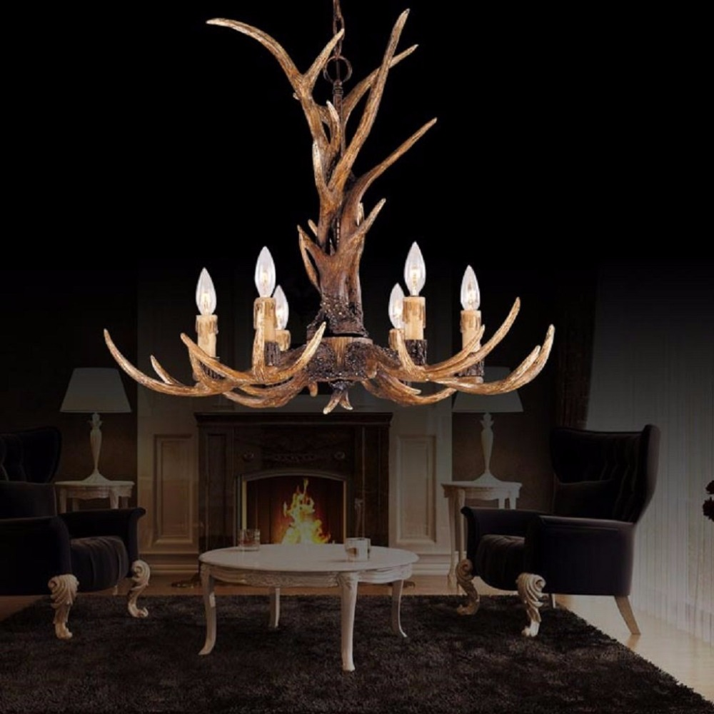 Vintage Style Resin Antler Pendant Lights,Living room,Bar,Cafe, Dining room, Bedroom,Study,Villas American Retro Deer Horn