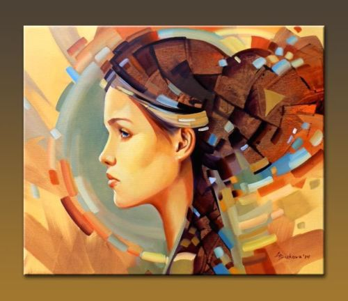 original art fantasy girl face abstract disc urban oil painting by gb nores
