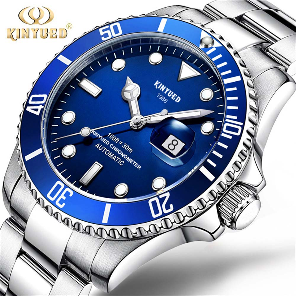 2018 New KINYUED Water Ghost Series Classic Blue Dial Luxury Men Automatic Watches Stainless Steel Waterproof Mechanical Watch new lp2k series contactor lp2k06015 lp2k06015md lp2 k06015md 220v dc