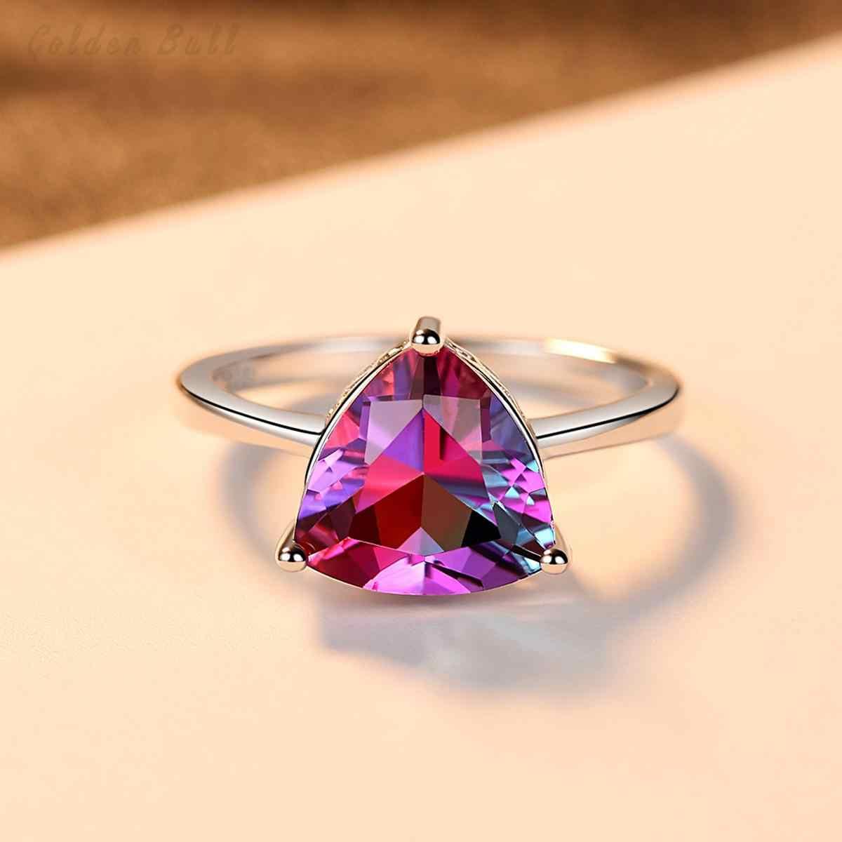 สีโอปอล 925 เงินสเตอร์ลิงภูเขาไฟแหวนหรูหราธรรมชาติสายรุ้งหินเครื่องประดับอัญมณีแหวนเงิน
