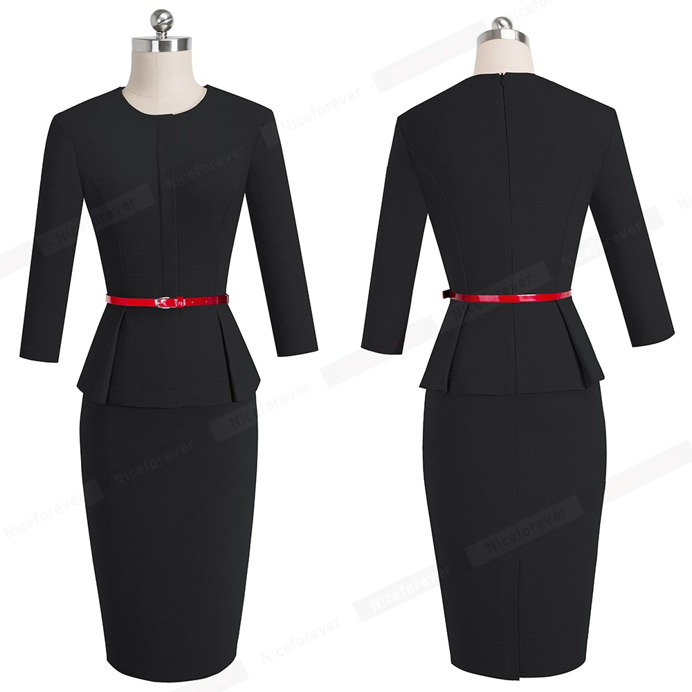 Nice-forever Vintage Elegant Wear to Work with Belt Peplum vestidos Business Party Bodycon Office Career Women Dress B473 17