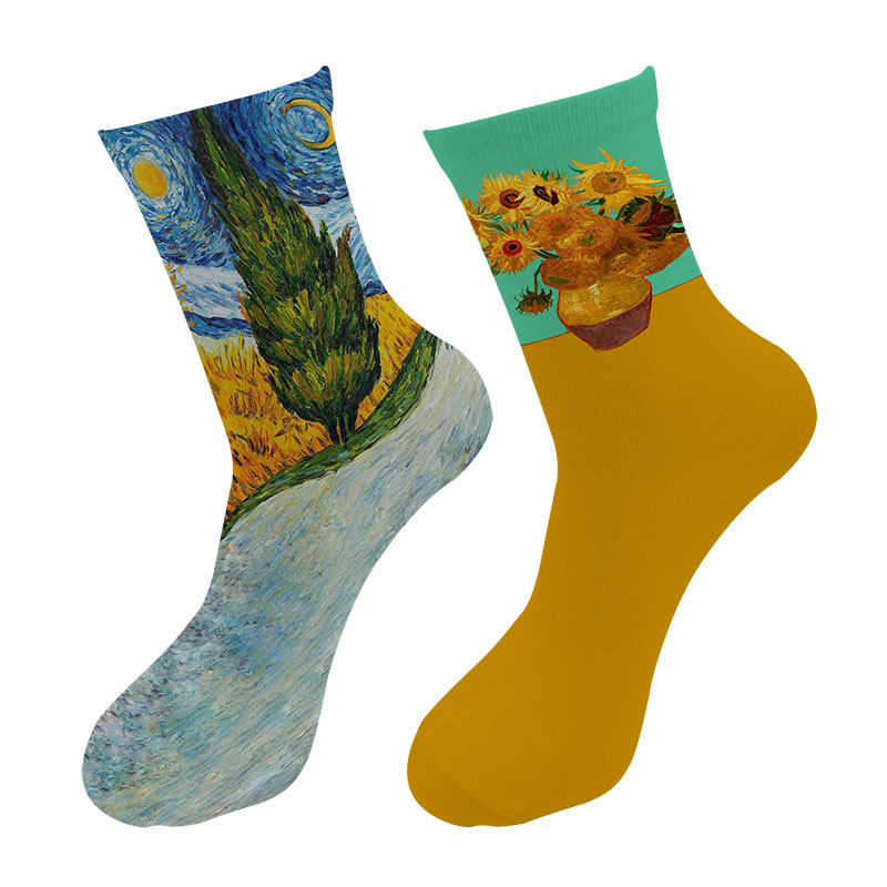 Men Fashions 3d Printed Retro Painting Art Van Gogh Crew Socks Men Funny Sunflower Starry Night Long Socks Da Vinci Tube Socks