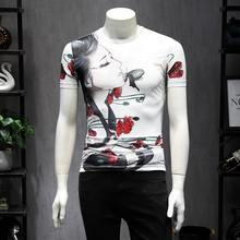 цена на 2019 summer new men's short-sleeved t-shirt male Chinese style beauty print slim round neck silky cotton t-sleeve S-5XL