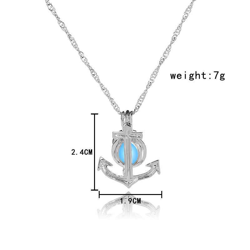 Жемчужина клетка якорь Ожерелье Диффузор для эфирных масел медальон для световой шар светящийся шар Жемчужница для женщин и девочек