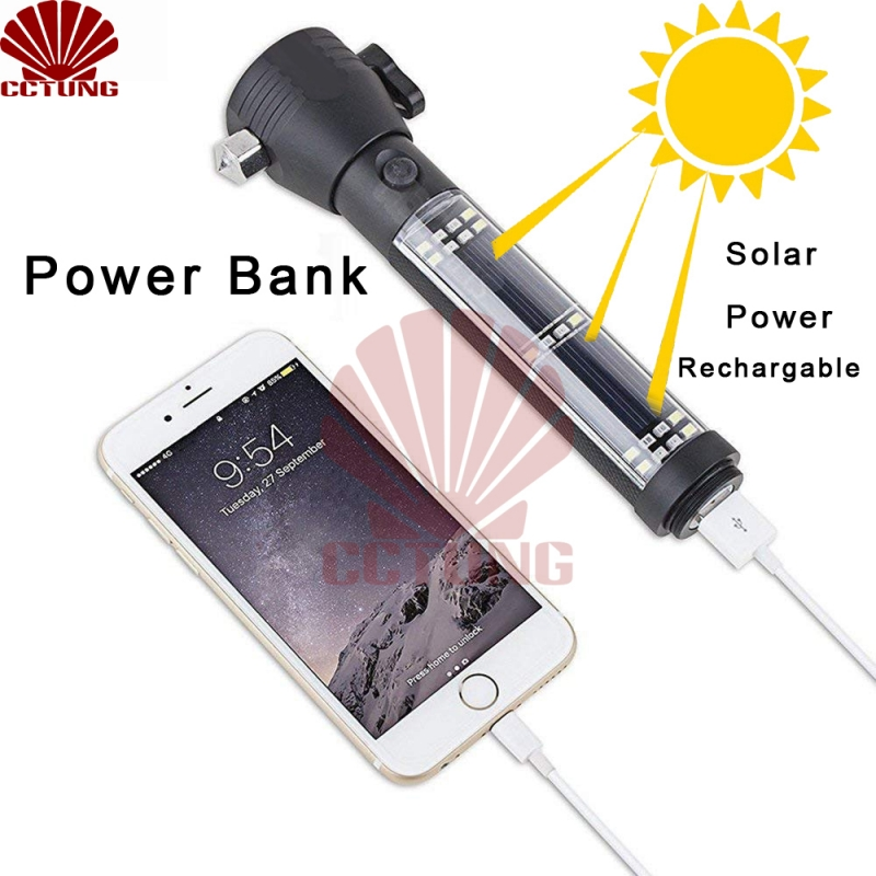 Solar Power USB Rechargeable LED Flashlight with Outdoor Emergency Hammer Safe-belt Cutter Compass Aid & Warning Sign Power Bank_2_2