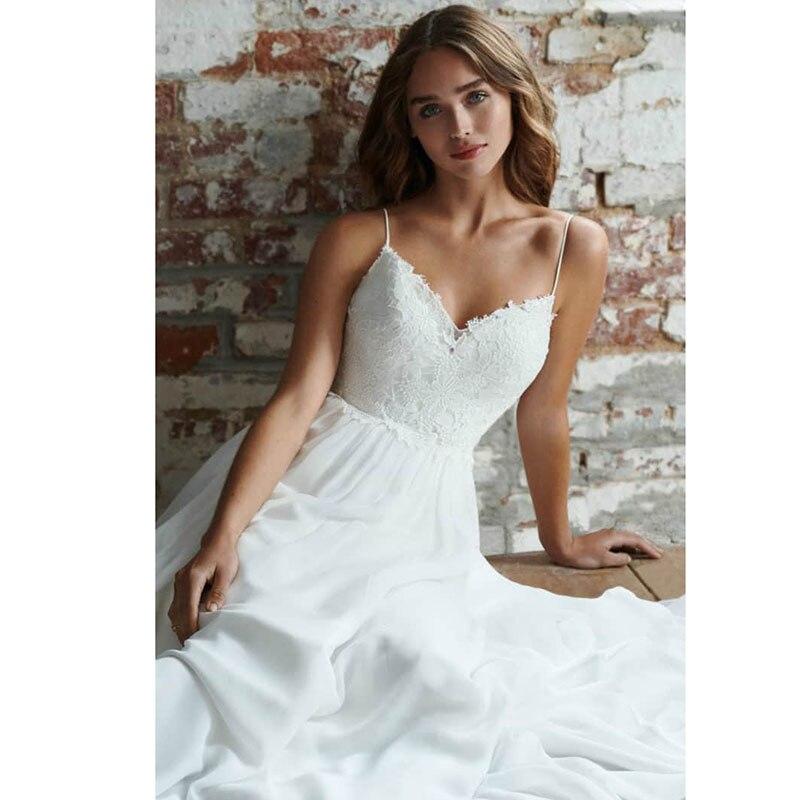 LORIE Boho robe de mariée bretelles Spaghetti une ligne en mousseline de soie longue dos nu plage robe de mariée Appliques dentelle Top robe de mariée 2019