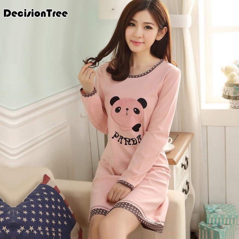 2019 new stripe nightdress polka dot sexy   nightgowns   women   sleepshirts   brushed cotton fresh simple women sleepwear