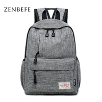 ZENBEFE Brand Linen Backpacks Leisure Laptop Backpack Durable College Student School Bag For Teenagers Rucksack Travel