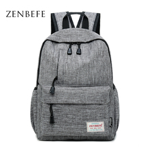 ZENBEFE Brand Linen Backpacks Leisure Laptop Backpack Durable College Student School Bag For Teenagers Rucksack Travel Daypack balang brand unisex water rsistant laptop backpack boys and girls portable travel backpacks fashion college school bag rucksack