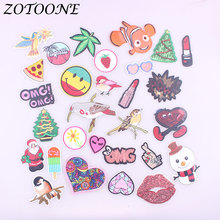 ZOTOONE Letter Heart Bird Patches Iron on for Clothing Embroidery Sticker Badge DIY Apparel  Accessories Christmas Gift