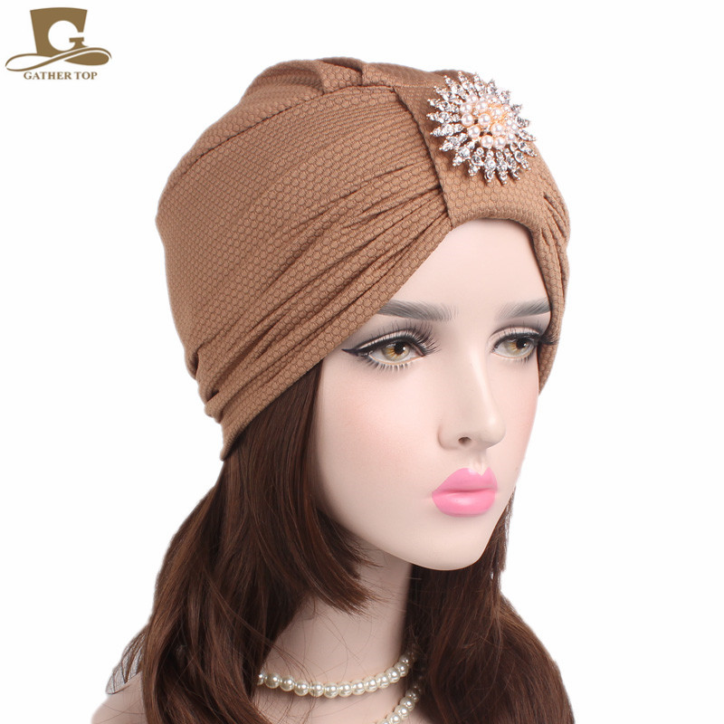 2017 New women luxury knotted Turban with pearled metal brooch Indian cap chemo bandana Wrap cancer hat Cap Chemo Hair Loss cap