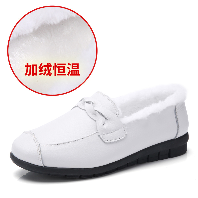Plardin New Winter Women Genuine Leather Shoes Women Flats Comfortable Mom Shoes Pleated Moccasins Cotton Shoes Mother's Shoes