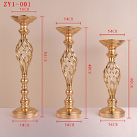 new Gold Metal Candle Holders Stand Flowers Vase Candlestick Road Lead Candelabra Centre Pieces Wedding Deco