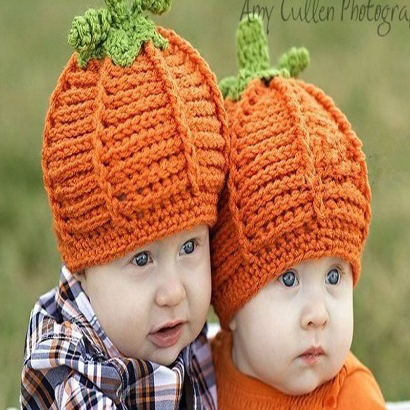 Infant Children Baby Pumpkin Crochet Hat Crochet Knitted Infant Caps Baby  Beanie Photo props Toddler Halloween Costumes-in Hats   Caps from Mother    Kids on ... d38184c956e5