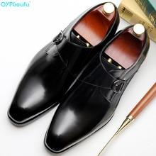 QYFCIOUFU 2019 Hot Handmade Designer double monk strap shoes Wedding Party Brand formal Genuine Leather Mens dress