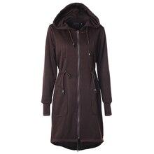 2016 Winter Autumn Women's Sweatshirts Drawstring Waist Hooded Trench Zipper Pocket Long Coat Hoodies Female Outerwear AWC0008
