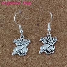 Cat Earrings Silver Fish Ear Hook 24pairs/lot Antique Chandelier Jewelry 13x34mm A-223e