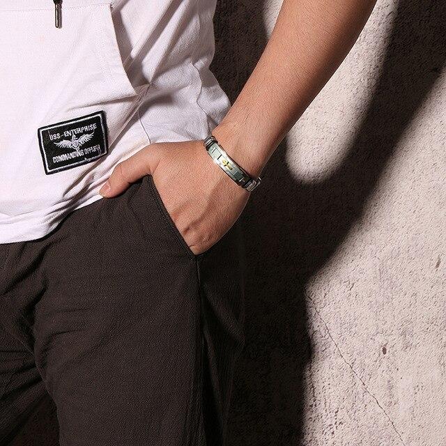 модный мужской браслет из нержавеющей стали ювелирные изделия фотография
