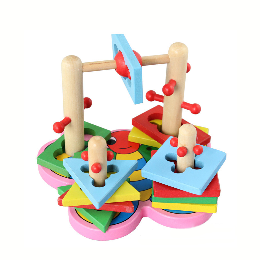 ФОТО Chanycore Baby Learning Educational Wooden Toys Geometric Shape Blocks Column Board Sorting Matching ydl Montessori Gifts 4123