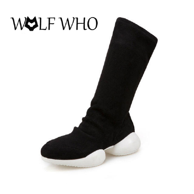 the sock knitter s workshop WOLF WHO Stretch Black Sock Boots Platform Ankle Boots for Women Sexy Over The Knee Boots Pluse Size 35-41 Horseshoe Shoes 2017