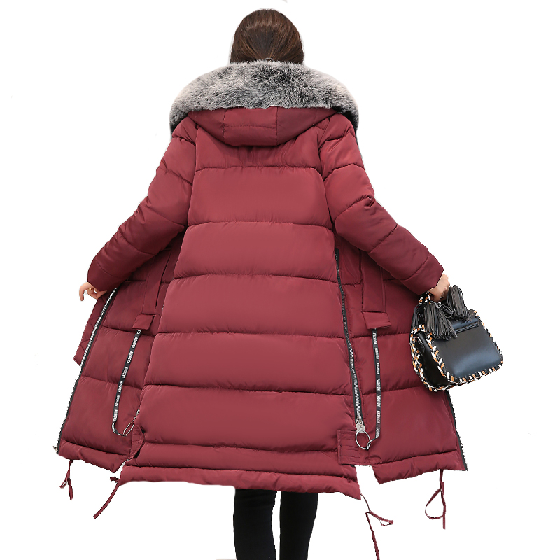 Fur Collar Hooded Women Winter Jacket Long Warm Thicken Cotton Padded Female Coat Parka Outwear Long Parka 2018 High Quality hooded long printing casaco feminino inverno 2017 warm thicken cotton padded winter jacket women female coat parka women s