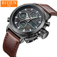 Biden mens sports digital military watches genuine leather canvas Multifunction man clocks waterproof calendar week brown black