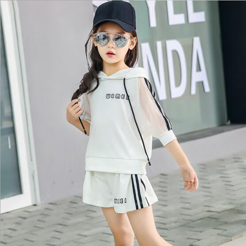 Two Colors Fashion Children's Clothing 2017 Korean Set Spring Loose New Ice Silk Breathable Cool Comfortable Suit For Girls 1751 jacquard green label silk colors cyan [pack of 3 ]