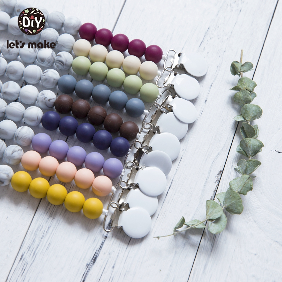 Let'S Make Silicone Pearl Tiny Rod Marble Beads Metal Pacifier Clip Dummy Chain Silicone Teether Rodent Pacifier Teether Chains