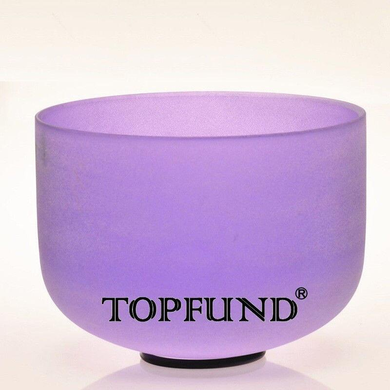 TOPFUND Violet Colored Frosted Quartz Crystal Singing Bowl A# Note Pineal Chakra 12 With Free Mallet and O-Ring topfund 432hz tuned f note heart chakra frosted quartz crystal singing bowl 12 free mallet and o ring