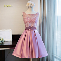 Loverxu Gorgeous Lace Vintage Knee Length Homecoming Dresses 2107 Elegant Scoop Neck Appliques Short Graduation Dress