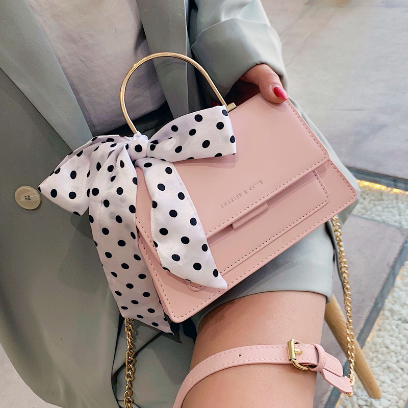 Elegant Female Ribbon Bow Tote Bag 2020 Summer New High Quality PU Leather Women's Designer Handbag Chain Shoulder Messenger Bag