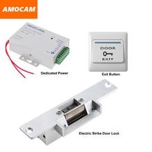 NC Electric Strike Door Lock+ Power Supply box for Door Access Control System Video doorbell +Door Exit Button Switch