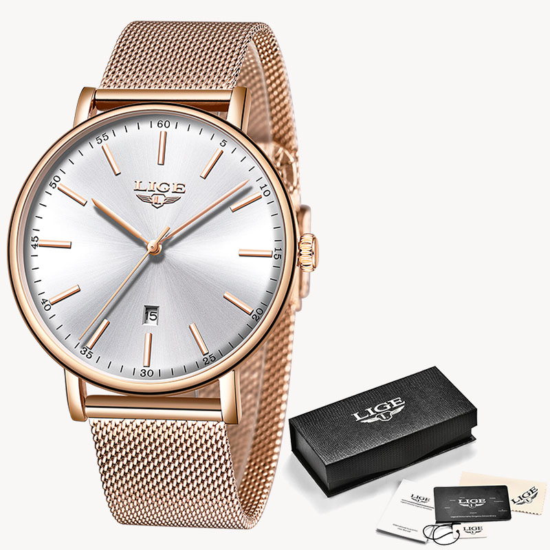 LIGE Fashion Women Watches Ladies Top Brand luxury Waterproof Gold Quartz Watch Women Stainless Steel Date Wear Gift Clock 2019 12