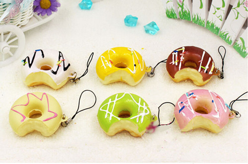 12pcs/lot bite one Donut Artificial Foods key chain ring pendants fake simulated bread shop DIY party decoration gifts FAVORS