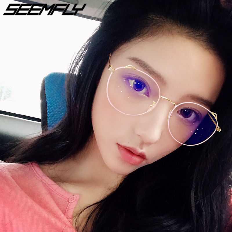 Seemfly 2019 Metal Cat Ear Reading Glasses Women Clear Lenses Presbyopia Eyeglasses Flat Mirror Reader Eyewear 0 To +4.0 Unisex