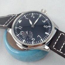 44 MM Parnis Negro Dial Cuerda Manual mecánica reloj de acero hombres Reloj piloto @ 9 6497men's