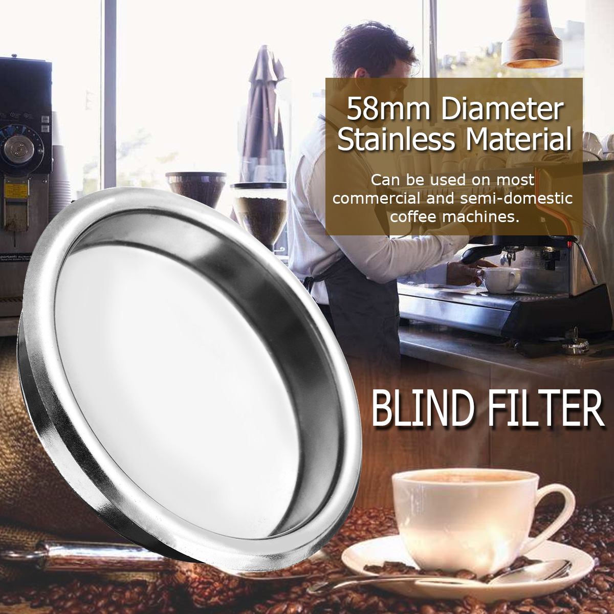 US $2 45 19% OFF|YKPuii 58mm Silver Coffee Filter Blind Filter Espresso  Coffee Machine Maker Backflush Back Flush Basket Stainless Steel-in Coffee