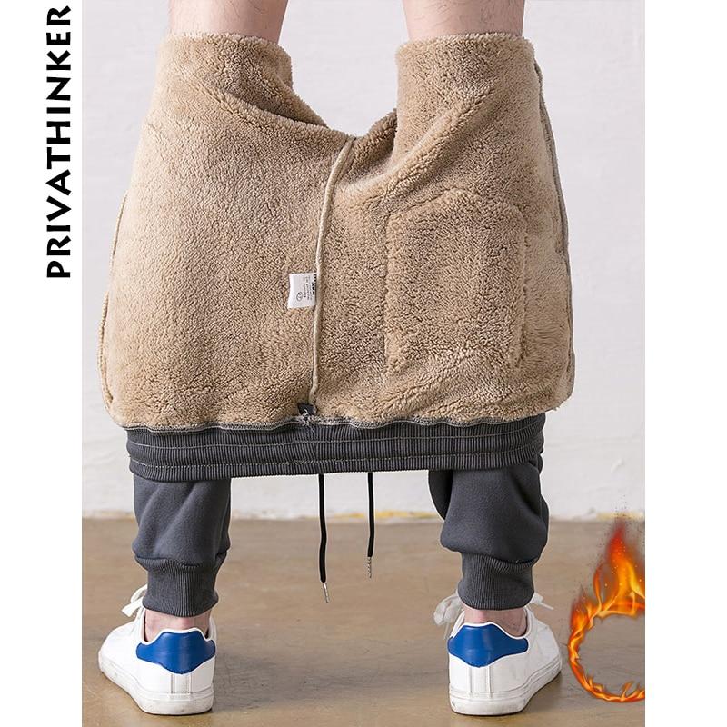 Privathinker Winter Pants Men Wool 2018 Mens Streetwear Sweatpants Joggers Pants Male Hiphop Fashions Joggers Pants Thick 4XL