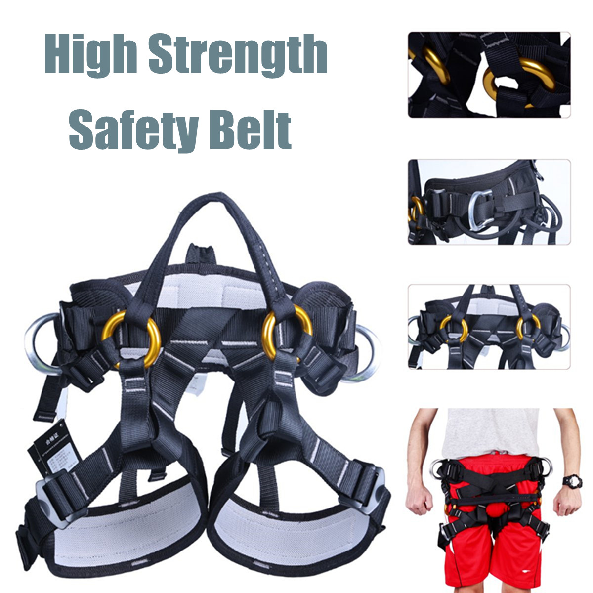 Safety Rock Climbing Rappel Seat Harness Belt Tree Arborist Fall Protection Equipment For Mountaineering Rescuing Rock