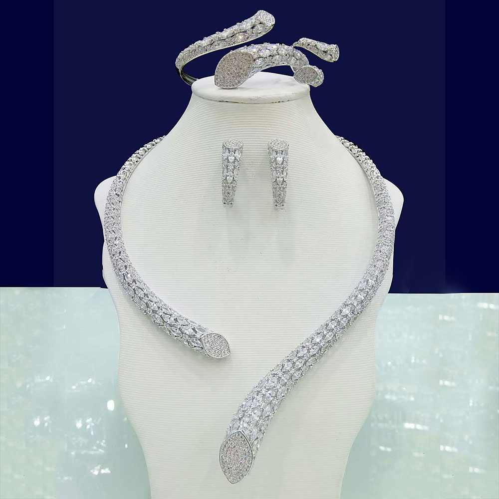 GODKI Luxury Cubic Zirconia Nigerian Jewelry sets For Women wedding Indian DUBAI Bridal Jewelry Sets Silver