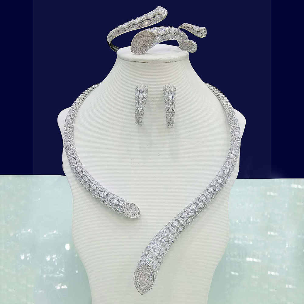 GODKI Luxury Cubic Zirconia Nigerian Jewelry sets For Women wedding Indian DUBAI Bridal Jewelry Sets Silver parure bijoux femme