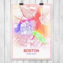BOSTON USA Modern Colorful World City Map Print Poster Abstract Coated Paper Bar Pub Living Room
