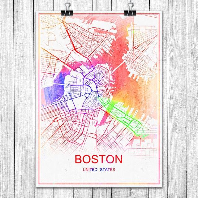 BOSTON USA Modern Colorful World City Map Print Poster Abstract ...