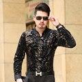 Camisa dos homens de Veludo de Manga Comprida Negócio Casual Masculino Moda Formal Dos Homens Vestido de Camisas Para Homem Magro Camisa Masculina