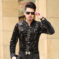 Terciopelo Moda Masculina Casual de Negocios de Manga Larga Camisa de los hombres Los Hombres Formales Camisas de Vestir Para Hombre Delgado Camisa Masculina