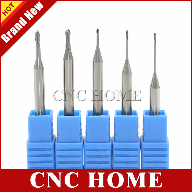 1 pc hrc60 2 flutes đổi chiều dài, bóng nose end mills tungsten carbide cnc router bit sáo dài nhôm mill cutter r0.5 r0.75 r1.0